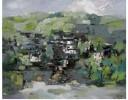 徽州忆梦-静静的山村(油画)
